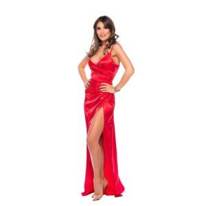 rochie de seara lunga satin rosu